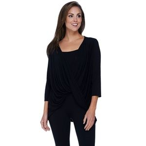 H By Halston Twisted Drape Front Top